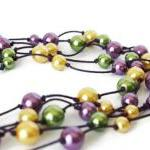 Multistrand Necklace with Glass Pea..