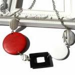 Chunky necklace in red, bla..