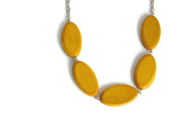 Chunky Wood Necklace in Mustard Yellow. Trendy Color, Big Oval Wood Beads