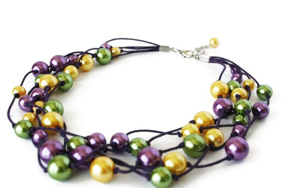 Multistrand Necklace with Glass Pearls on Waxed Cotton Cord. Very Chunky. Purple, Yellow and Green. Perfect Spring Fashion!