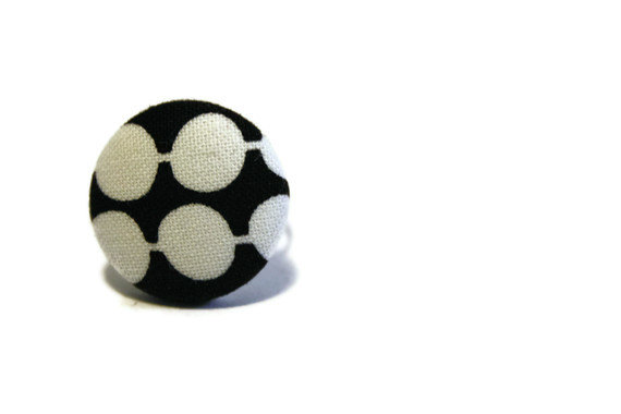 Fabric button ring, adjustable ring with fabric covered button. Black and white. Ready to ship.