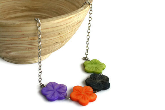 Chunky necklace, Hawaiian flowers in purple, orange, black and green lake shells beads. Ready to ship.