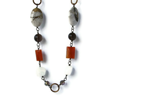 Orange and Brown Gemstone Necklace. Fall Fashion at it's best!