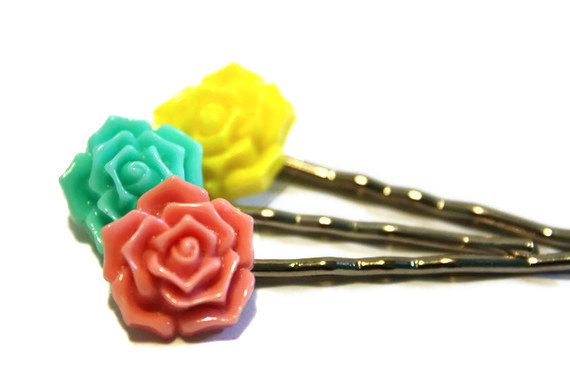 Flower bobby pins, hair accessory, set of three hairpins. Bright colors, pink, aqua and yellow. Ready to ship.