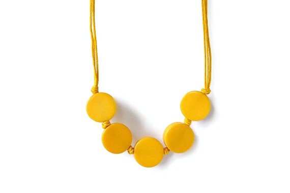 Yellow Necklace with Resin Beads on a Waxed Cotton Cord. Hand Knotted Beaded Necklace in Bright Yellow.