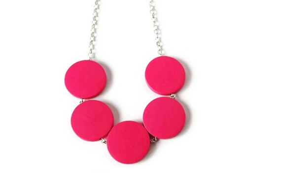 Neon Pink Necklace, Chunky Wood Necklace. Geometric Jewelry