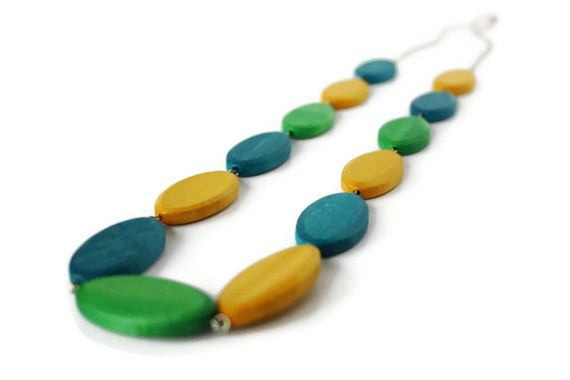 Long Wood Necklace, Teal, Lime Green and Mustard Yellow Beaded Necklace