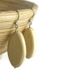 Chunky Bead Earrings with Natural White Oval Wood Beads. Beaded Earrings with Nickel Free Hooks.
