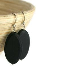 Beaded Earrings with Black Wood Beads on Nickel Free Fish Hooks.