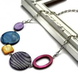 Fashion necklace purple, electric blue, fuchsia and yellow shell beads. Chunky necklace. Ready to ship.