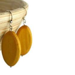 Wood Earrings with Mustard Yellow Wood Beads. Yellow Beaded Earrings with Nickel Free Hooks.