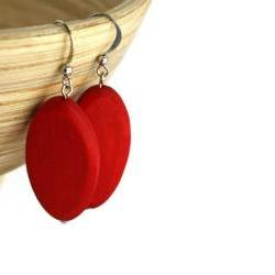 Wood Earrings with Bright Red Wood Beads. Red Beaded Earrings with Nickel Free Hooks.
