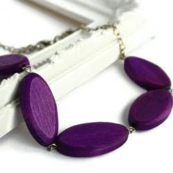 Purple chunky bead necklace. Oval wood beads.
