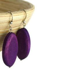Wood Earrings with Grape Purple Wood Beads. Purple Beaded Earrings with Nickel Free Hooks.