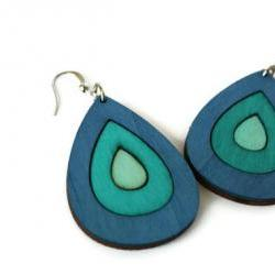 Blue Wood Earrings. Drop Earrings with Nickel Free Hooks.Ombre Earrings