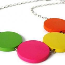 Neon Necklace, Rainbow Necklace. Chunky Wood Necklace