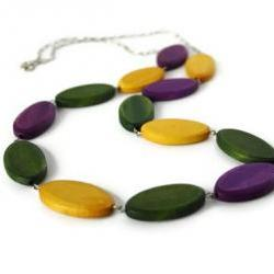 Long Wood Necklace in Fall Colors. Chunky Necklace in Purple, Yellow and Forest Green