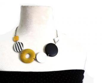 Chunky necklace in yellow, black and white lake shells and wood beads. Colorful necklace. Ready to ship.