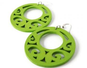 Lime Green Earrings. Wood Earrings Boho Style
